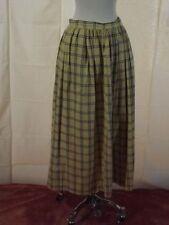 Vtg 70s 80s Cambridge Summer Plaid Cotton Long Length Skirt Sz 8 Yellow Blue
