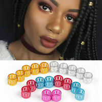 10/30/50Pcs Adjustable Dreadlock Beads Braids Hair Clips Cuff Tube Ring Jewelry