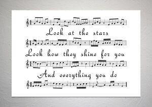 Coldplay - Yellow - Song Sheet Print Poster Art