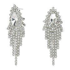 Clear silvery diamante earrings sparkly rhinestone bridal prom dangly party 370