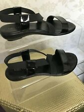 Marks and spencer collection black faux patent leather sandals size 5