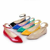 New Sweet Womens Candy Ballet Flats Pointy Toe Ankle Strap Casual Shoes All Size