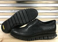 Cole Haan ZeroGrand Wingtip Oxfords Shoes All Black Leather SZ ( C23738 )