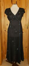 COUNTRY CASUALS black chiffon silver bead short sleeve evening party dress 10 38