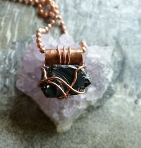 Genuine Elite/Noble Shungite - rustic hammered copper wrapped necklace, pendant