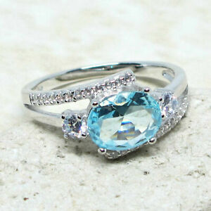 AWESOME 2 CT OVAL AQUAMARINE BLUE 925 STERLING SILVER RING SIZE 5-10