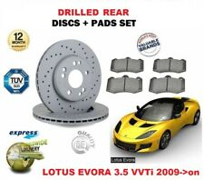 FOR LOTUS EVORA 3.5 VVTi 2009-> NEW REAR DRILLED BRAKE DISCS SET + DISC PADS KIT