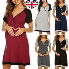 Pregnant Womens Maternity Pajamas Nightdress Nursing Breastfeeding Soft Dress UK