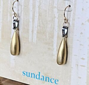 "NEW $128 Sundance Catalog 1 5/8"" Bronze 14k GF Sterling Silver Dangle Earrings"