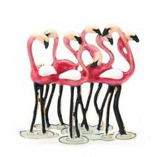 Flock of Pink Enamel Flamingos Necklace & Pin *100% Donation 2 cure K9 Cancer