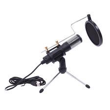 Usb Microphone Tripod Stand Set for Game Chat Studio Black Pro Audio Equipment