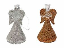 SET OF 4 GLASS CHRISTMAS ANGELS TREE DECORATION GLITTER GOLD SILVER 6CM X 3.5CM