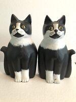 Antique Black & White Cat Feline Cast Iron Andirons Liberty Foundry