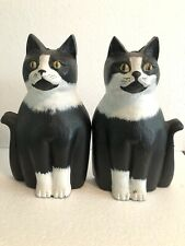 Antique Black & White Cat Feline Cast Iron Andirons Liberty Foundry