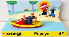 CORGI Juniors 67 POPEYE 1980 Diecast Model Toy Car Boat & Custom Display Stand
