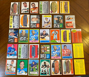 VINTAGE 1950s & 1960s TOPPS FOOTBALL STAR CARD LOT OF 33 LOW-MID GRADE Read