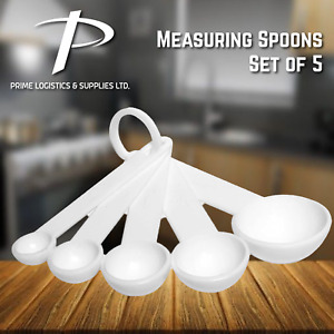 Measuring Spoons Set of 5 Plastic Kitchen Utensil Cooking Baking Tool Teaspoon