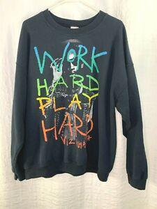 Wiz Khalifa Work Hard Play Hard Men's XL Long Sleeve Black Sweatshirt
