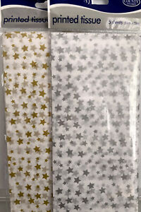 Star Tissue Paper-5 Sheets-White with Gold Stars Or White with Silver Stars