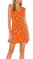 Free People Womens Like A Lady Mini Dress Orange Small S Floral Ruffle $108 437