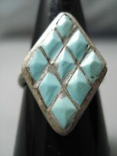 MARVELOUS VINTAGE NAVAJO CHANNELED TURQUOISE STERLING SILVER RING OLD