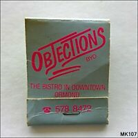 Objections Bistro 559A North Rd Ormond 5788472 Matchbook (MK107)