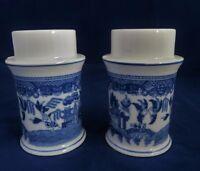 Japanese Porcelain Candle Holders Pair Classic Blue & White Versatile EUC!