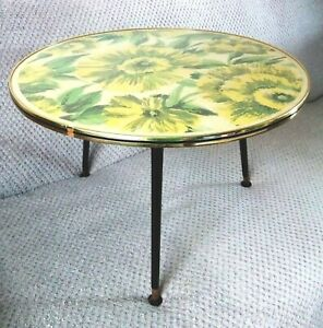 VINTAGE Mid-Century 1950's Glass Topped (FLOWER DESIGN) 3 Hair Pin Leg Table