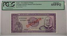 1978 Govnt of Tonga 5 Pa'anga Specimen Note SCWPM# 21b-CS1 PCGS 65 PPQ Gem New