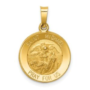 14k Yellow Gold St Michael Medal Pendant Charm Necklace Religious Patron Saint