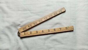 Vintage Old Wood And Brass Folding Ruler Made In Holland - Dutch Folding Ruler