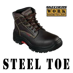 MEN'S SKECHERS WORK BOOTS BURGIN - TARLAC ST STEEL TOE LEATHER SHOE 77143MC  11