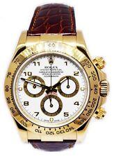 Rolex Daytona Chronograph 18k Yellow Gold White Dial Watch & Box M 116518