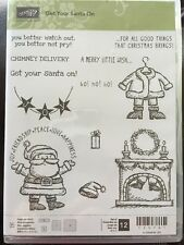 """GET YOUR SANTA ON"" Stampin'UP! NEW~CLEAR~unmounted-Christmas Fire~santa suit~"