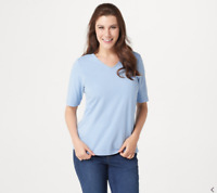 Denim & Co. Essentials Knit Top with Forward Seam Detail-Blue Haze-Large