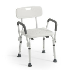 Medical Deluxe Shower Bath Chair Seat with Back & Arms, Adjustable Height White