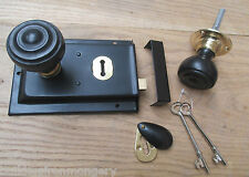 CLASSIC OLD ENGLISH RIM DOOR LOCK AND KNOB HANDLE SET- Flat Rimmed ebony + brass
