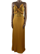 TRUE DECADENCE Lace Pleated Mustard Yellow Gold Maxi Dress Size 6