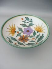 More details for art deco gouda flora viola hand painted footed bowl