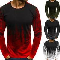 Fashion Men Long Sleeve T Shirt Printed Loose O-Neck Cotton Streetwear Tee Tops