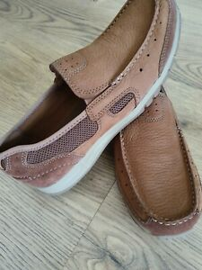 Mens Clarks Leather Shoes Moccasin Size Uk 7G New