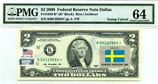 US $2 DOLLARS 2009 STAR STAMP CANCEL FLAG OF UN FROM SWEDEN VALUE $5000