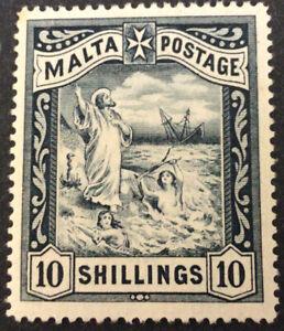 Malta Victoria 10/- Blue Black MNG Mint No Gum SG35 C/V £100.00 As Mint