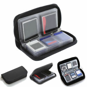 BLACK Memory Card Holder Wallet - Micro SD SDHC CF SM - Protective Storage Case