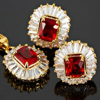 Brass Red Ruby Emerald Cut Necklace Pendant Earrings 18K Gold Plated Jewelry Set
