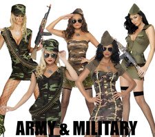 LADIES SEXY ARMY MILITARY CAMO FANCY DRESS COSTUME HALLOWEEN HAT SMIFFYS FEVER
