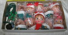 Vintage Glamour Pixie Elves Christmas Tree Lights Covers Original Box of 10 Elf