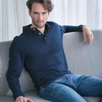 Henbury HB105 Mens Long Sleeves Cotton Polo Tshirts Classic Collar Polo T-shirt