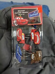 Disney Cars Shower Curtain Hooks Mater Lightening McQueen Wheels Tires Pixar New