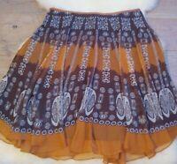 Alyn Paige New York Woman's 16 Flowy Geo Multicolor Skirt Orange Brown